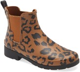 Hunter Original Leopard Print Refined Chelsea Waterproof Rain Boot
