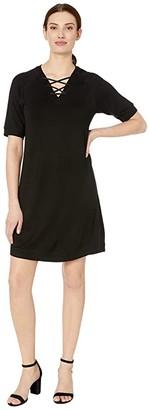 Tribal Short Sleeve Lace-Up Dress (Black) Women's Clothing
