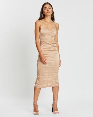 Missguided Satin Seam Detail Midi Dress