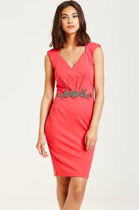 Little Mistress Hot Coral Embellished Waist V Neck Bodycon Dress