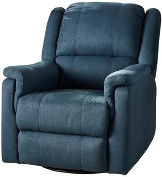 Gdfstudio GDF Studio Jemma Tufted Fabric Swivel Gliding Recliner Chair, Navy Blu