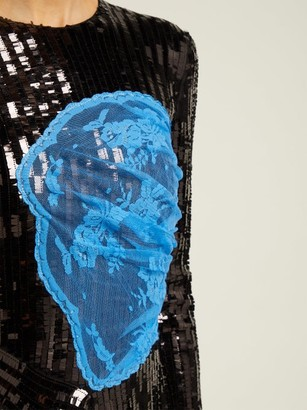 Preen by Thornton Bregazzi Stephanie Sequinned Panelled Midi Dress - Black Blue