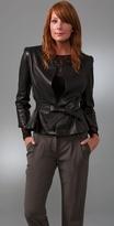 Porter Grey Belted Leather Jacket