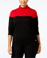 Calvin Klein Plus Size Colorblocked Turtleneck Sweater