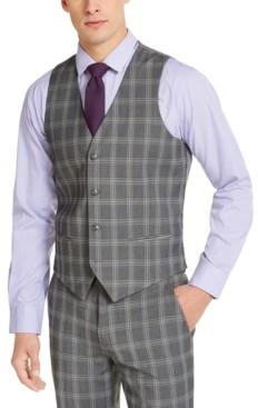Alfani Men's Slim-Fit Stretch Gray Plaid Suit Vest, Created for Macy's