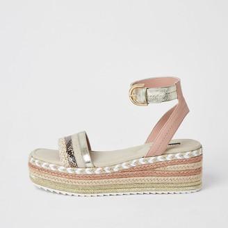 River Island Light pink espadrille flatform sandals