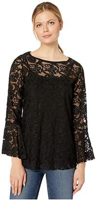Nic+Zoe Lovely Lace Top (Black Onyx) Women's Clothing