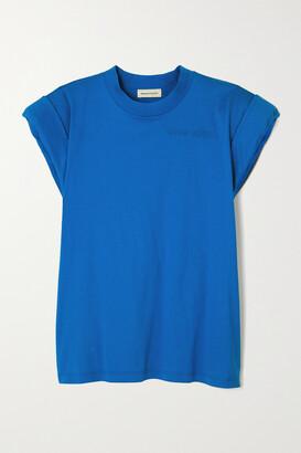Alexander McQueen - Embroidered Cotton-jersey T-shirt - Blue
