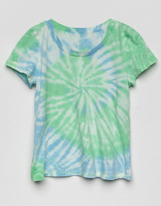 Off the Record Swirl Tie Dye Girls Blue & Green Tee
