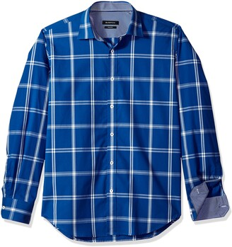 Bugatchi Men's Large Windowpanes Check Trim Fit Long Sleeve Woven Shirt