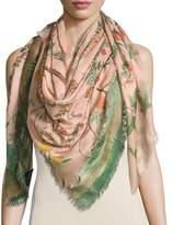 Gucci Tree of Life Wool & Silk Shawl, Rose