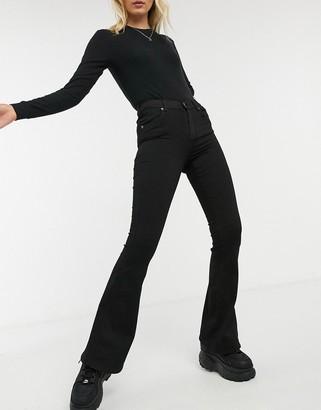 Dr. Denim Macy mid rise flared jeans in dark black