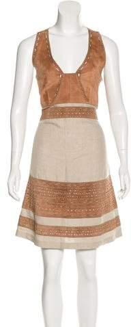 Derek Lam Suede Laser-Cut Dress