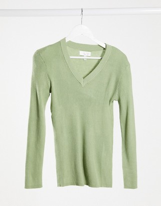 Gianni Feraud v neck jumper in green