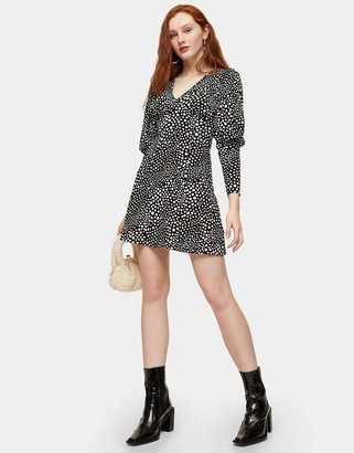 Topshop plunge mini dress in monochrome