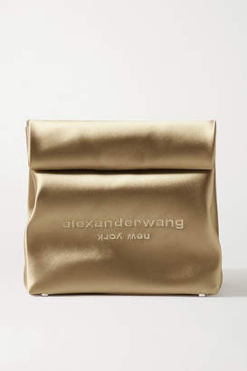 Alexander Wang Lunch Bag Embroidered Satin Clutch - Gold