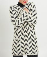August Silk Black & Cream Chevron Textured Long Open Cardigan