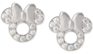 Disney Children's Cubic Zirconia Minnie Mouse Stud Earrings in Sterling Silver
