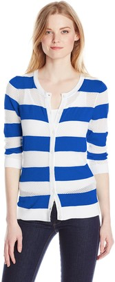 Leo & Nicole Women's Missy Button Front Cardigan with Mesh Detail