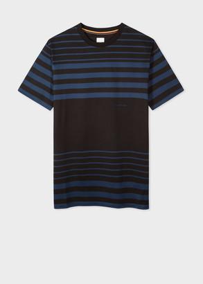Paul Smith Men's Oversized Black And Navy Stripe T-Shirt