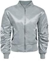 Fashion Wardrobe Womens Ladies Padded Satin MA1 Bomber Jacket Quilted Coat Winter Vintage Flight [, S]