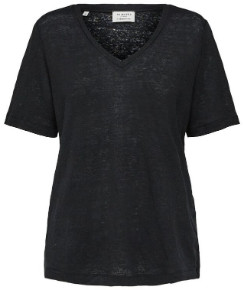 Selected Black Linen V Neck Tee - s