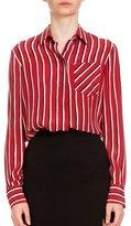 Altuzarra Long-Sleeve Striped Silk Blouse, Black/Red/White