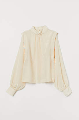 H&M Blouse with Stand-up Collar - Beige