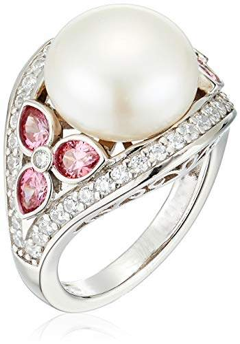 Swarovski Platinum Plated Sterling Silver Freshwater Pearl with Pear Shaped Zirconia Accents Ring