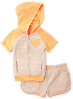 Juicy Couture Toddler Girls) Two-Piece Orange Rainbow Terry Hoodie & Shorts Set