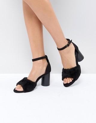 St Sana Faux Fur Strap Heel Sandal