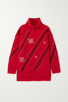 Fendi Embroidered Cable-knit Wool And Cashmere-blend Sweater - IT38