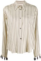 Romeo Gigli Pre Owned 1990s beaded cuffs striped shirt