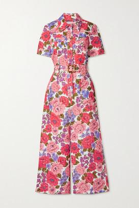 Zimmermann Poppy Belted Floral-print Linen Jumpsuit