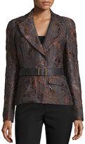 Donna Karan Narrow Belted Jacket, Charcoal/Auburn