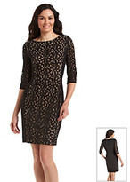 Anne Klein Lace Panel Dress With Jersey Back