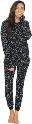 AnyBody Petite Cozy Knit Waffle Printed PJ Set