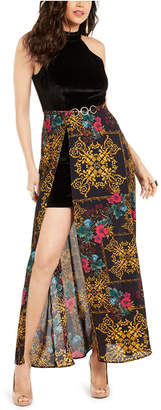 Thalia Sodi Halter Printed-Overlay Maxi Dress