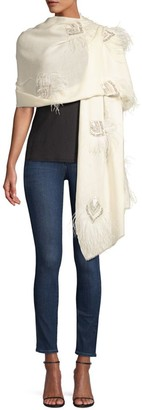 Janavi All Over Feathers Cashmere Scarf