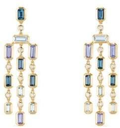 David Yurman Novella Earrings In Hampton Blue Topaz And Tanzanite