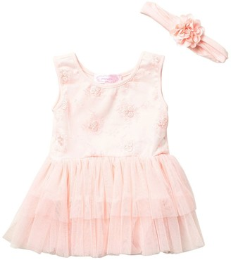 Popatu Floral Embroidered Tutu Dress & Headband Set