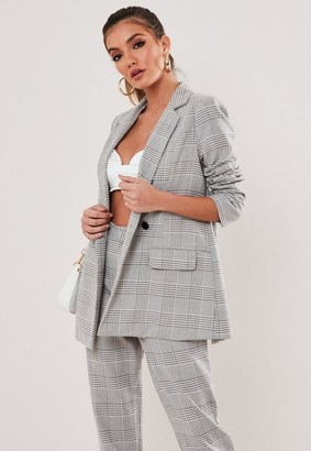 Missguided Tall Gray Co Ord Plaid Blazer