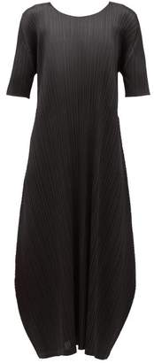 Pleats Please Issey Miyake Technical-pleated Satin Midi Dress - Womens - Black