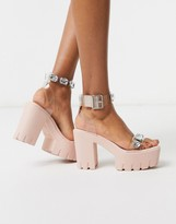 clear ASOS DESIGN Naught chunky embellished heeled sandals