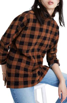 Madewell Buffalo Plaid Drop-Shoulder Mockneck Top