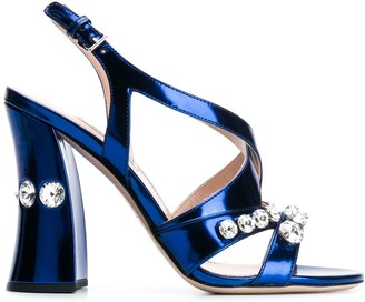 Miu Miu Embellished Block Heel Sandals