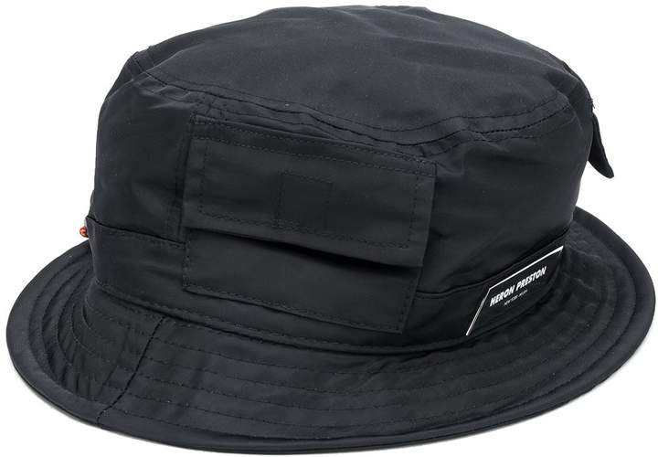 Heron Preston logo patch flap pocket bucket hat