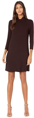 Michael Stars Jasper Poor Boy Rib 3/4 Sleeve Mock Neck Dress (Eggplant) Women's Dress