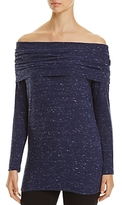 Red Haute Off-the-Shoulder Speckled Sweater