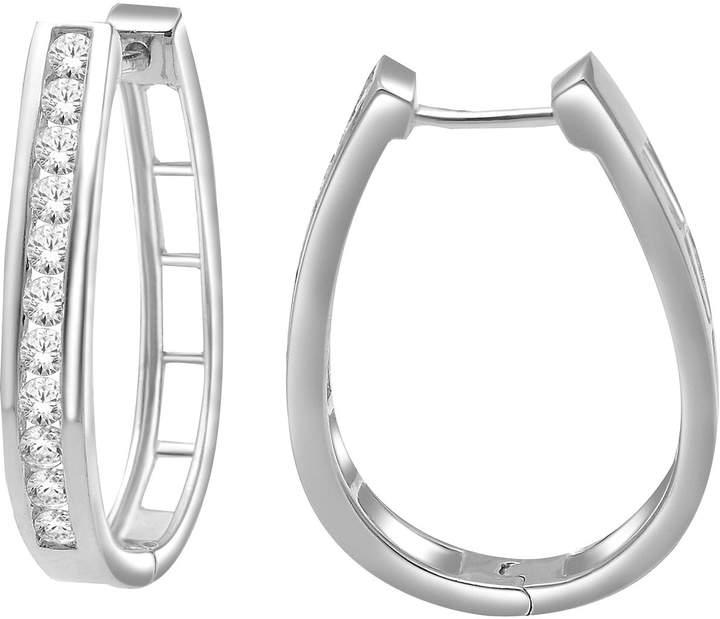 JCPenney FINE JEWELRY 1 CT. T.W. Diamond Sterling Silver Hoop Earrings